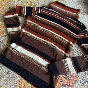 Vintage 70s rust space dye skinny turtleneck med